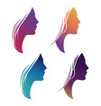 colorful female silhouette set isolated on white vector image