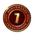 7 years anniversary golden label vector image vector image