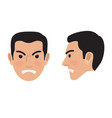 angry man face from two sides flat icon vector image