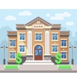 Bank building with cityscape Business and finance vector image