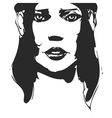Black and white hand-drawn woman portrait Ink vector image