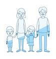 blue silhouette shading caricature family group vector image