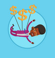 businessman flying with dollar signs vector image vector image
