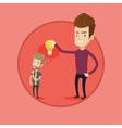Businessman giving idea bulb to his partner vector image vector image