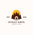 cabin with pine tree sunset logo template vector image vector image