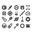 car parts black icons vector image