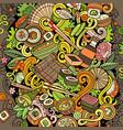 cartoon color doodles japan food vector image vector image