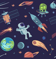 cartoon space seamless background hand drawn vector image vector image