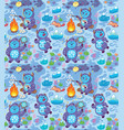 cartoon yetis seamless pattern wallpaper vector image