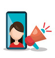 chracter female with smartphone and megaphone vector image