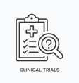 clinical trials flat line icon outline vector image vector image