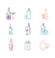 colorful sketch alcohol and non alcohol drinks vector image vector image