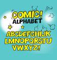 comic retro yellow alphabet halftone background vector image vector image