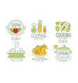 cooking time logo collection cooking with love vector image vector image