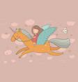 cute cartoon girl flies on a pegasus princess and vector image vector image