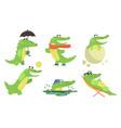 cute crocodile cartoon character set funny vector image