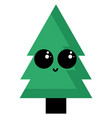 cute green tree on white background vector image vector image