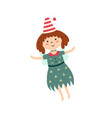 cute little witch flying in sky funny fairy vector image