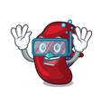 diving spleen character cartoon style vector image vector image