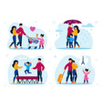 family active life and leisure flat set vector image vector image