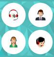 flat icon call set of headphone operator hotline vector image vector image