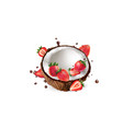 fresh coconut with strawberries and splashes of vector image vector image