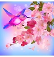 greeting card with branch of flowers vector image