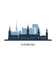 hamburg skyline monochrome silhouette vector image