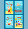 holiday seascape image shooting santa claus vector image vector image
