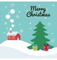 House and pine tree icon Merry Christmas vector image vector image