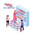isometric pharmacy vector image vector image