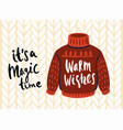 knitted christmas ugly sweater card funny holiday vector image
