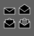 letter envelope symbols icons simple black set vector image vector image