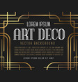 luxury vintage frame art deco style vector image