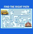 maze game finds the school bus way get to school vector image