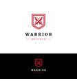 minimalistic logo with two swords and shield vector image