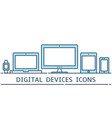 modern flat color line responsive design icons vector image vector image