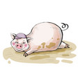 moneybox the pig lies in a dirty pool vector image
