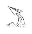 monochrome blurred silhouette of paper plane vector image vector image