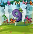 Number nine with 9 butterflies in garden vector image vector image