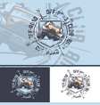 off-road car logo with a compass on background vector image vector image