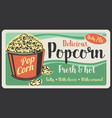 popcorn fast food sweet snack vector image vector image