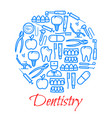 poster of dentistry icons vector image vector image
