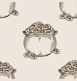 pot of coins seamless pattern engraving vector image vector image
