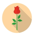 Red rose flower flat icon vector image vector image