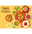 Salad dishes top view icon for healthy menu design vector image vector image
