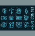 set blockchain blue glowing neon icons vector image