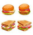 set burgers hamburgers and cheeseburgers vector image