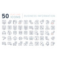 set line icons business information vector image