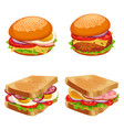 set of burgers hamburgers and cheeseburgers with vector image